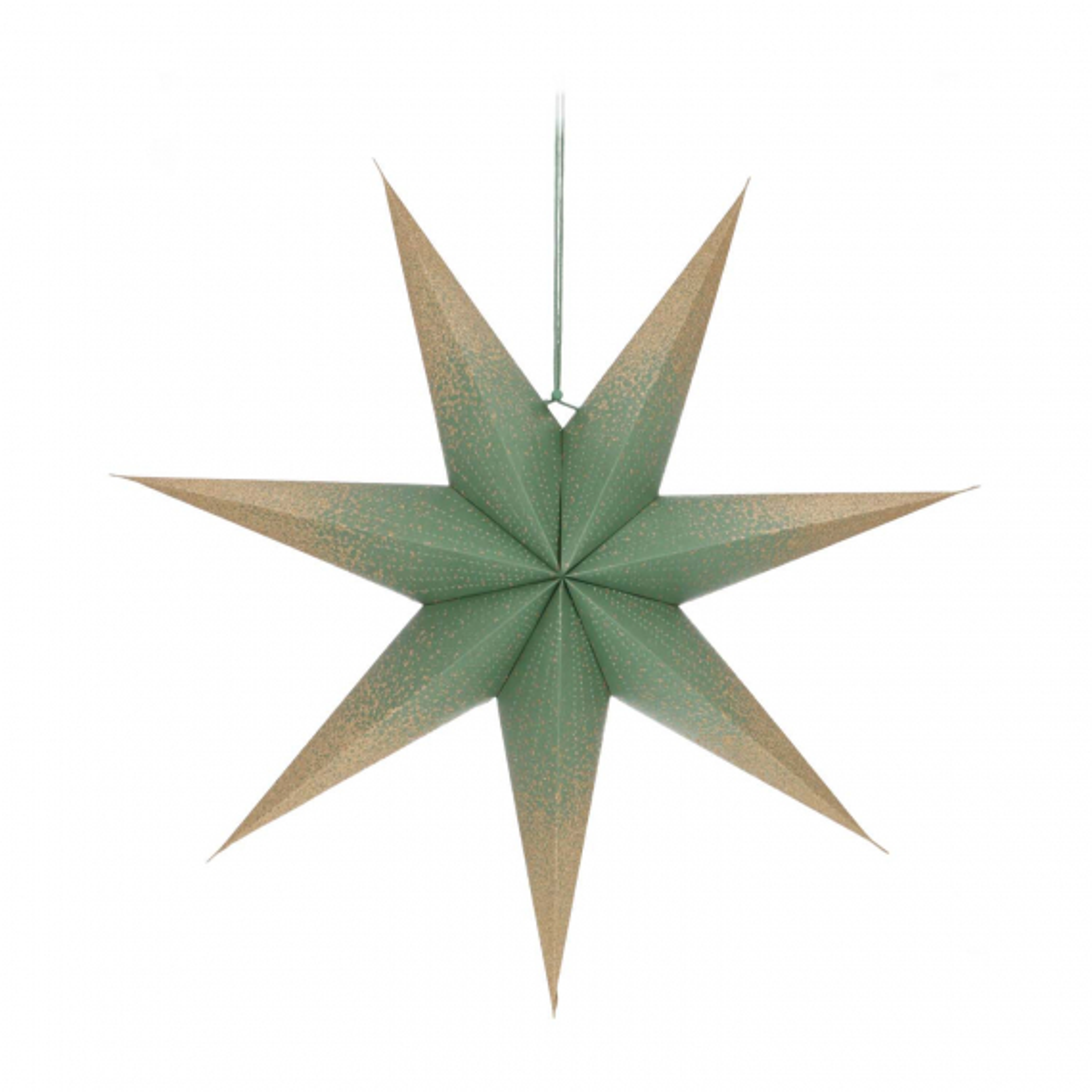 Papierstern grün mit Glitzer, perforiert, 60 cm