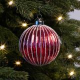 Luxuriöse Weihnachtskugel Lampion, rot, Glas, 8 cm