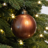 Edle Weihnachtskugel Hochglanz-Holz-Optik, braun, Glas, 8 cm