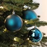 44 Weihnachtskugeln petrol, Kunststoff, 6-10 cm