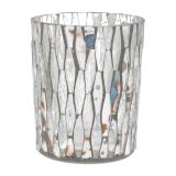 Teelichthalter Spiegel-Mosaik, transparent, Glas, 10 cm