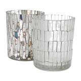 Teelichthalter Mosaik, transparent, Glas, 10 cm