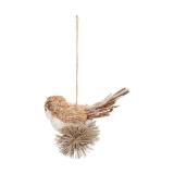Anhänger Vogel hellbraun, aus Stroh, 12 cm