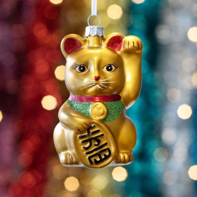 Anhänger Winkende Katze, gold, Glas, 10,5 cm
