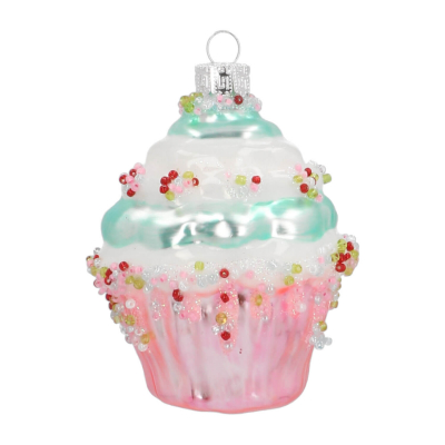 Anhänger Cupcake, bunt, Glas, 8 cm