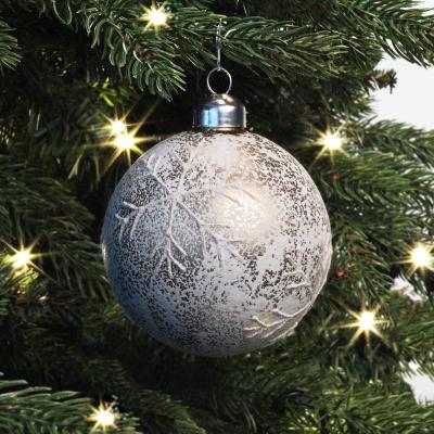 Besondere Weihnachtskugel Krakelee mit Schneeflocke, weiß, Glas, 8 cm