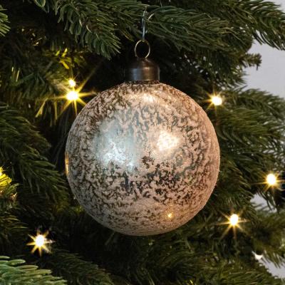 Besondere Weihnachtskugel Eisregen, hellgold, Glas, 8 cm