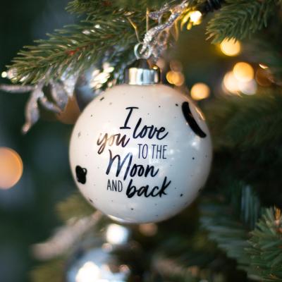 "Besondere Weihnachtskugel ""Love you to the moon"", weiß, Glas, 8 cm"