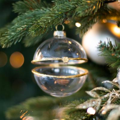 Weihnachtskugel zum Befüllen mit Goldverschluss, transparent, Glas, 8 cm