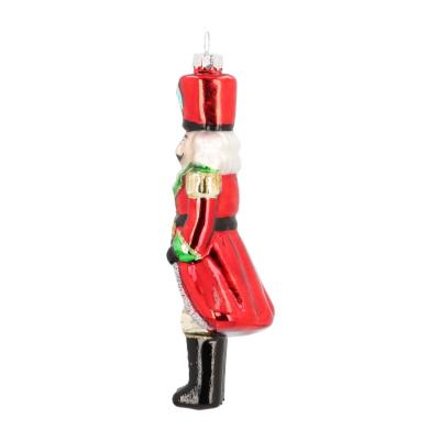 Traditioneller Anhänger Nussknacker, rot-grün, Glas, 16 cm