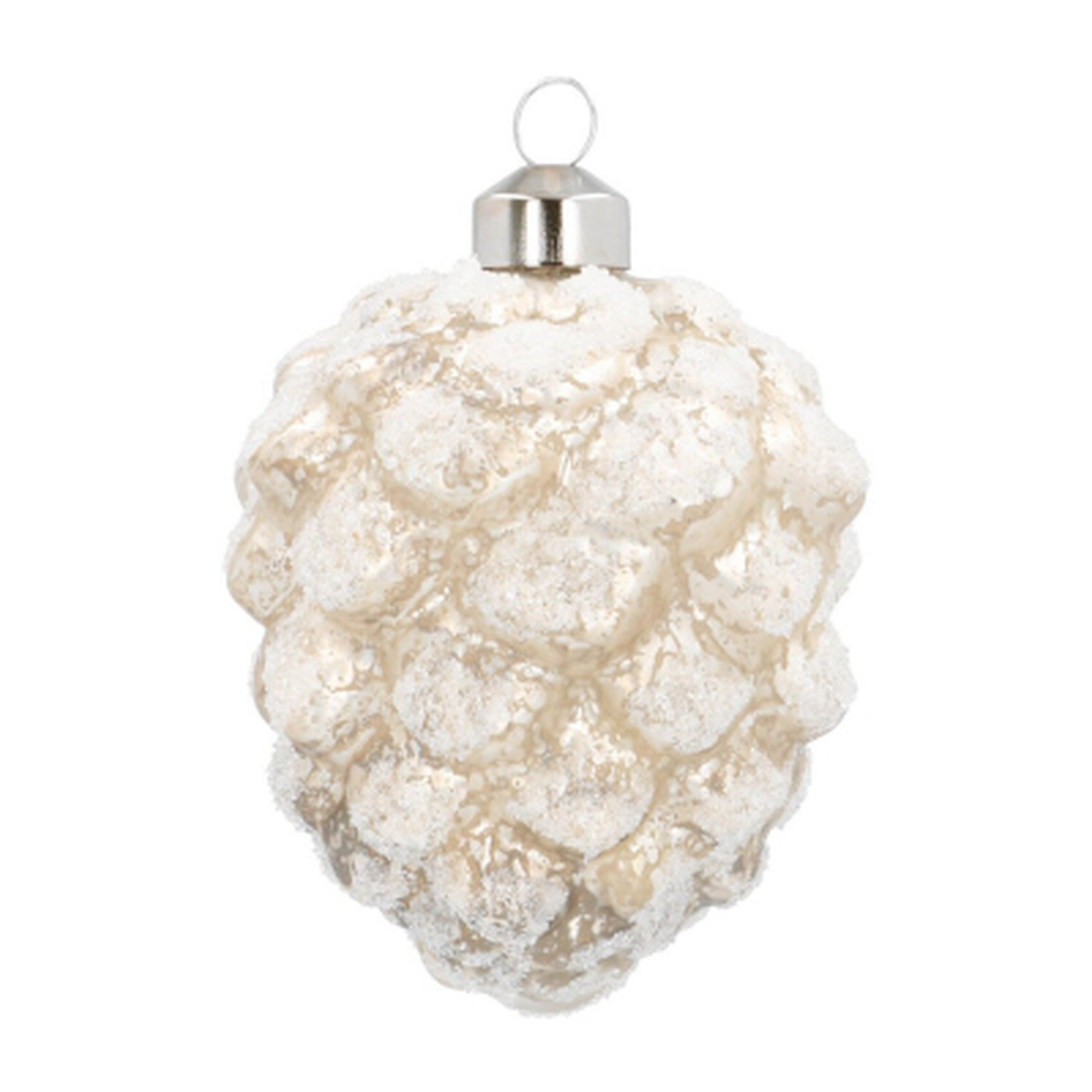 Luxuriöser Tannenzapfen weiß, aus Glas, 9 cm