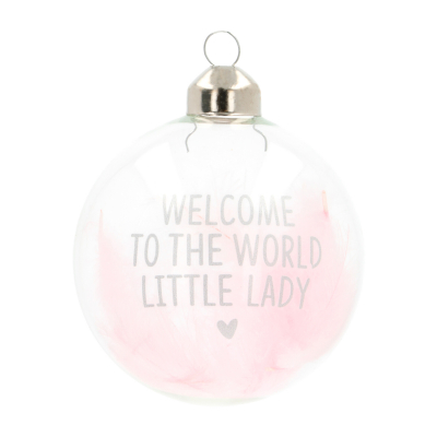 "Süße Weihnachtskugel ""Welcome To The World"", rosa, Glas, 8 cm"