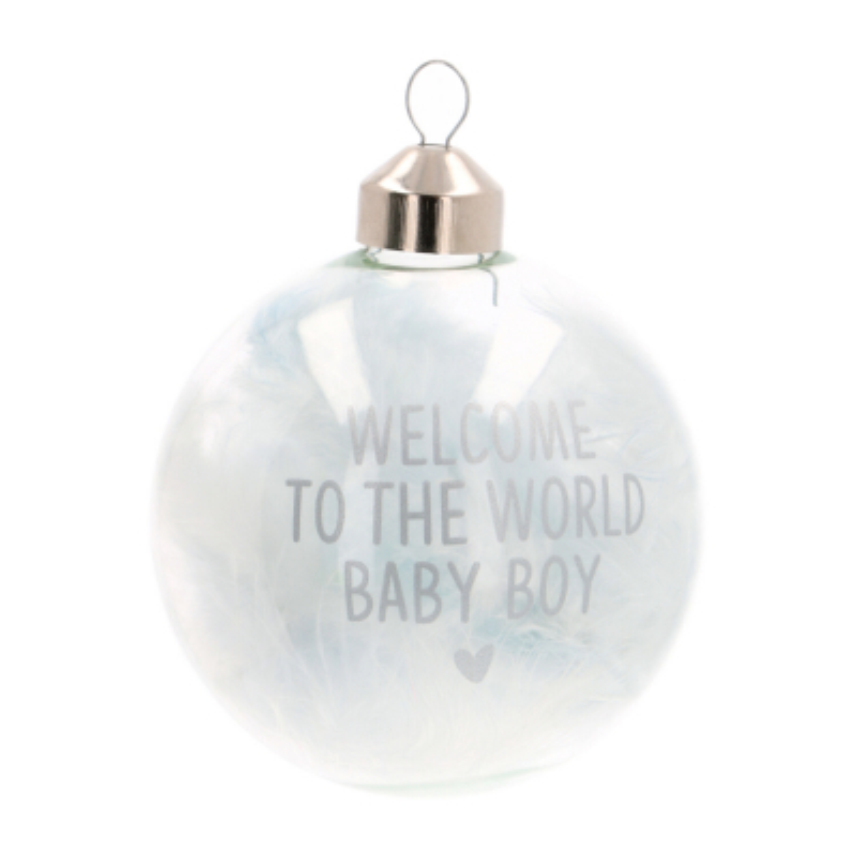 "Süße Weihnachtskugel ""Welcome To The World"", blau, Glas, 8 cm"
