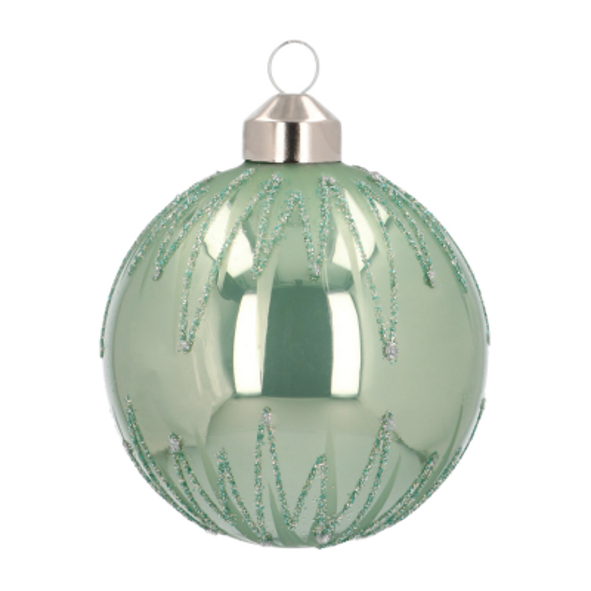 Edle Weihnachtskugel Streifen elegant, zartgrün, Glas, 8 cm