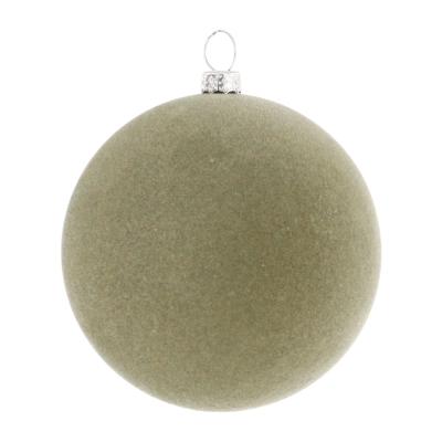 Samt Weihnachtskugel Cottage Green, Kunststoff, 8 cm
