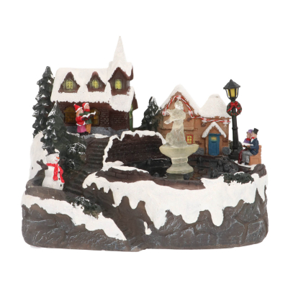 Weihnachtsszene mit echtem Springbrunnen, LED-Beleuchtung & Musik, 27,5 cm