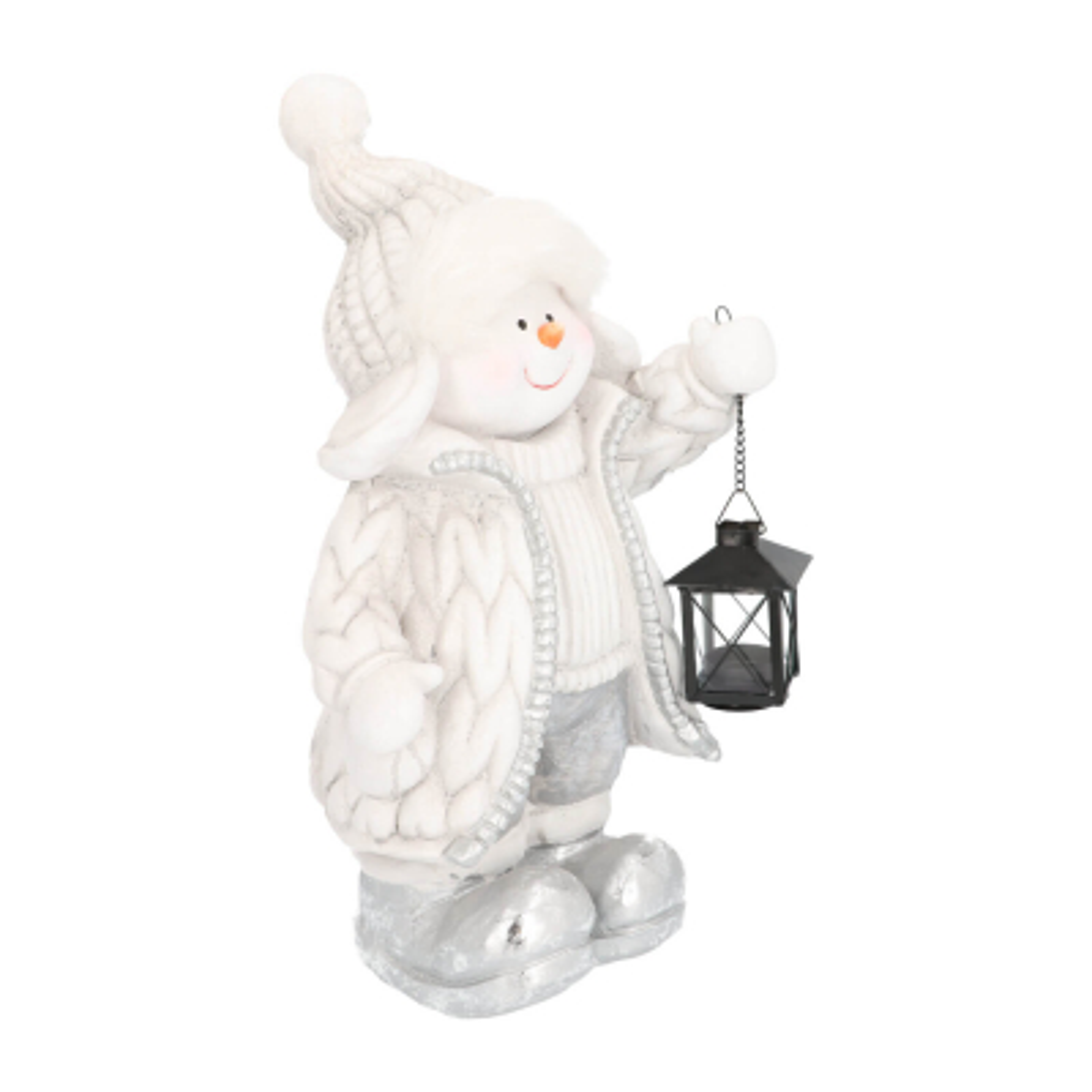 Schneemann mit Laterne, weiß-grau, 48 cm