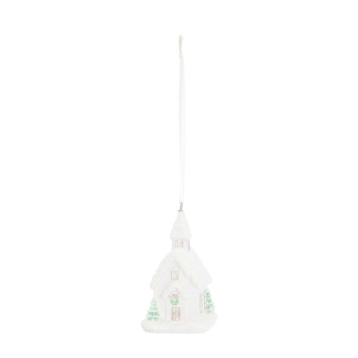 Besonderer Anhänger Weihnachtshaus weiß, aus Polyresin, 8,5 cm