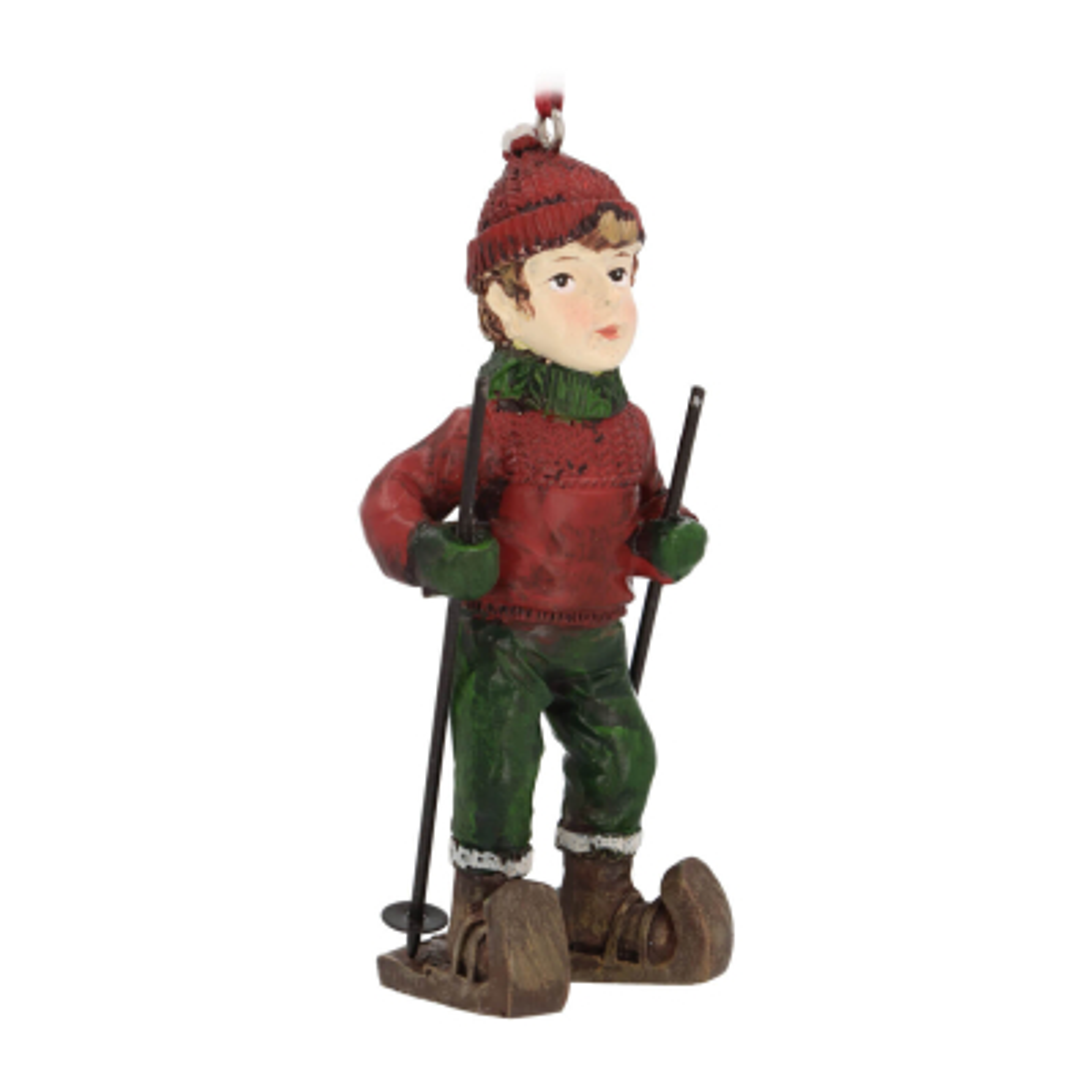 Anhänger Junge mit Ski, rot, Polyresin, 10 cm