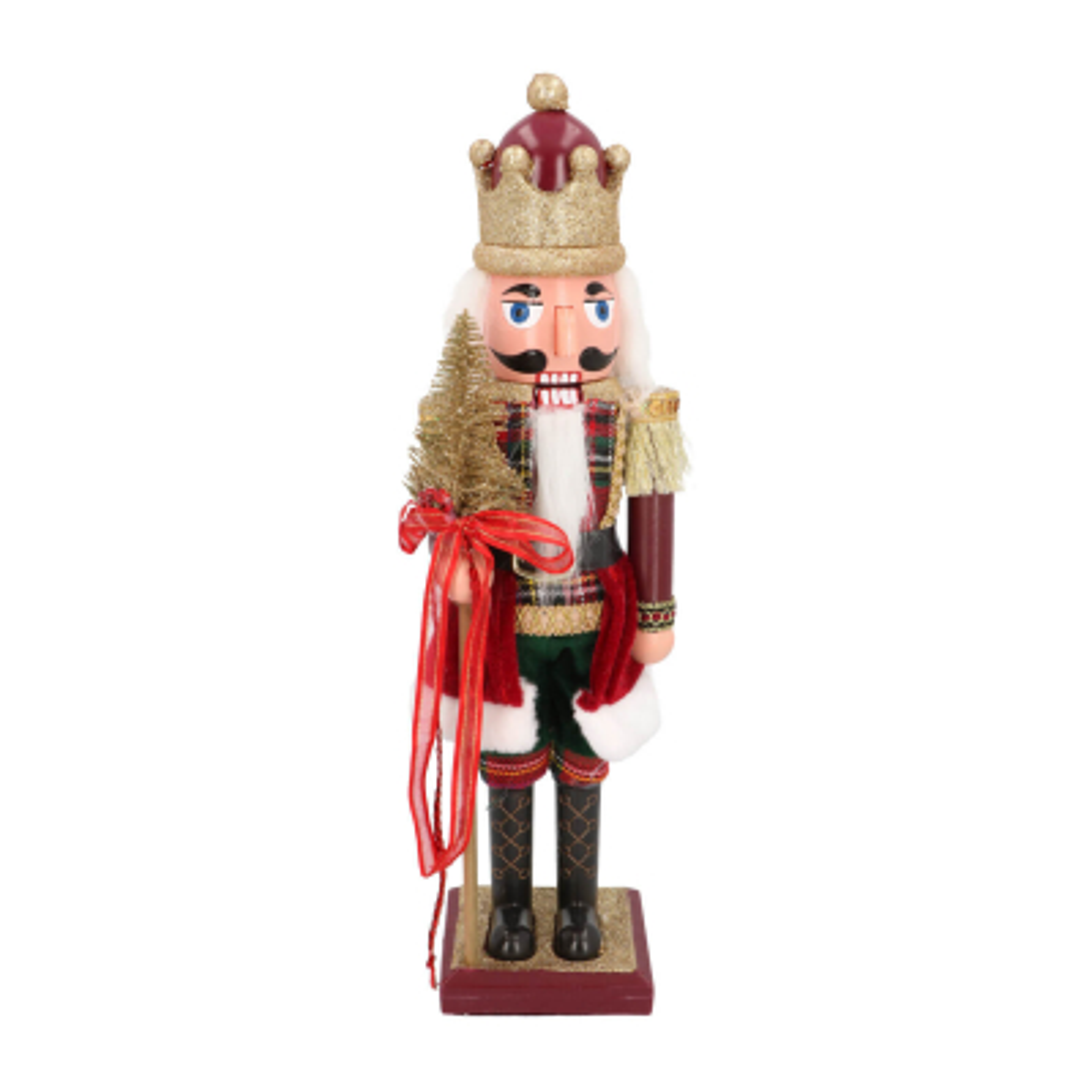 Nussknacker König mit Zepter, bordeaux, Kunststoff, 38 cm