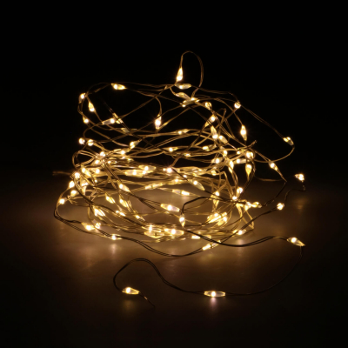 Silberdraht-Beleuchtung mit Batterie, 100 LEDs