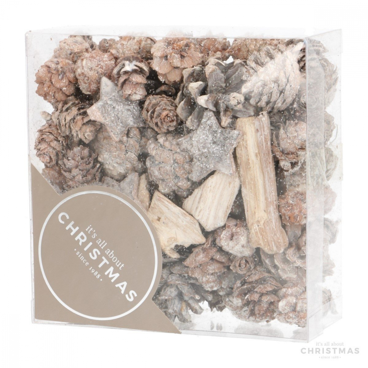 Naturdeko-Set aus Tannenzapfen, Sternen & Hölzern, 200 g