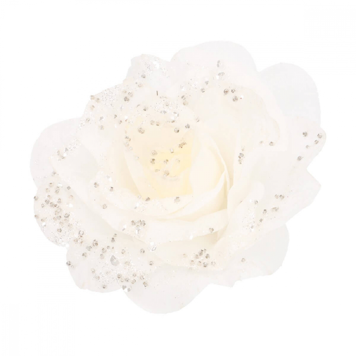 Blume mit Clip weiß, aus Kunststoff, 12 cm