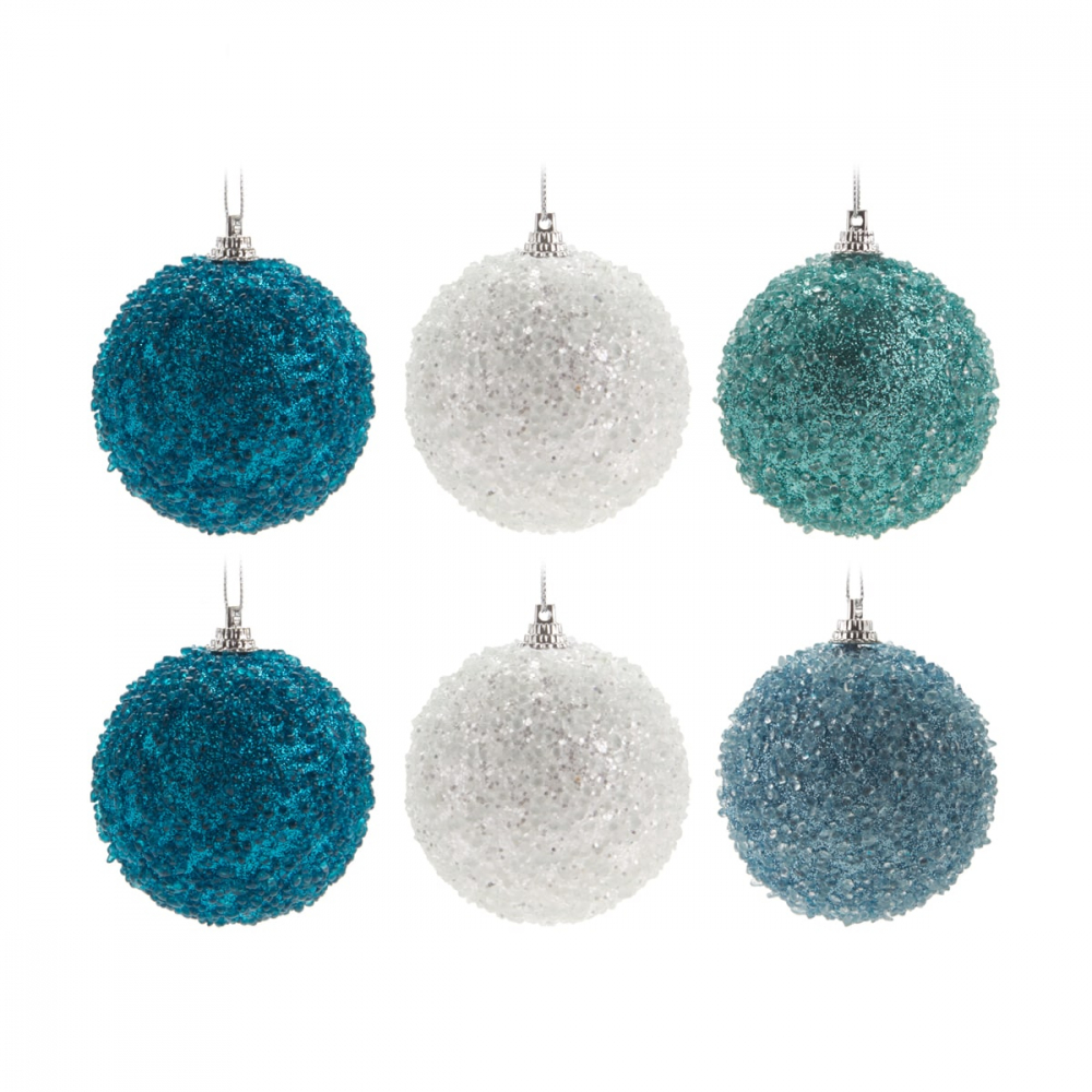6 Weihnachtskugeln Kristallmantel Frozen Mix, 7 cm